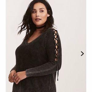 Torrid V Neck Lace Up Sleeve Ribbed Sweater 2